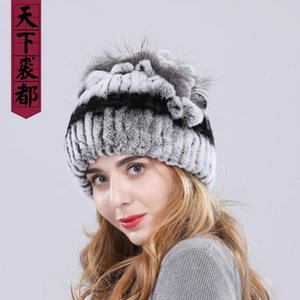 Women fur hat winter natural real rex fur cap russian female headgear brand new fashion warm beanies cap