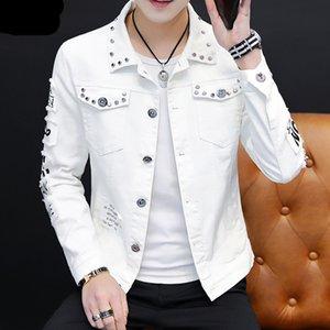 Fashion Men denim jacket Spring And Autumn Personalized design jean coats Male slim Fit Solid color Handsome Versatile outerwear