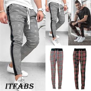 Erkekler Spor Pantolon Eşofman Altları Sıska Ter Ekose Pantolon Moda Spor Düzenli Çuha Pileli İpli Kalem Pantolon