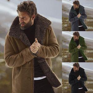 Mäntel beiläufige starke warme Langärmlig Pelz Hals Mäntel Herrenmode Winter-Oberbekleidung Männer Designer Winter-