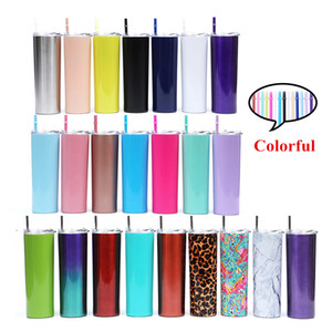 DHL Inner 3 Outer 2 For 600ml Colorful Water Bottle 20oz Mug With Colored Straws, Straight cup, Stainless steel Double vacuum stretch liner