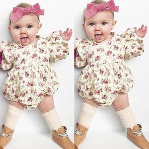 Tatlı Yenidoğan Bebek Bebek Kız Çiçek Ruffles Uzun Kollu Romper Çocuklar Tek Parça Pamuklu Tulum Giysileri Kıyafetler Giyim Tops