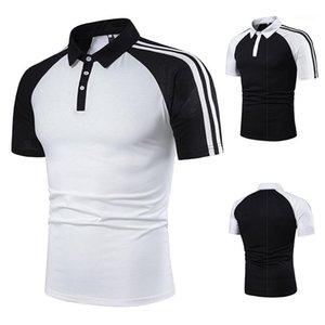 셔츠 남성 패션 스트라이프 패치 워크 폴로 단색 짧은 소매 캐주얼 폴로 남성 의류 디자이너 폴로