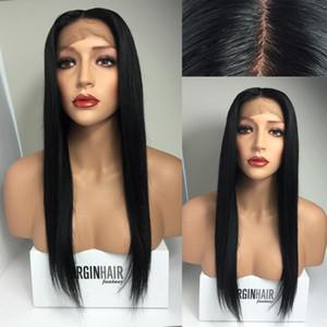 Tam Dantel İnsan Saç Peruk Best Virgin Brezilyalı Perulu Düz Dantel Frontal Peruk Siyah Kadınlar için Doğal Renk