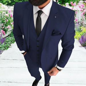 Elégante 3 Piece Hommes Costume 2020 Dîner Matin Prom Party Costume de marié Houndstooth hommes Blazer Slim Fit meilleur homme Tuxedo
