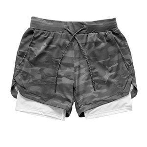 Мужская Йога Обучение Quick Dry Running Камуфляж шорты 2 в 1 спортивный Бег Фитнес шорты