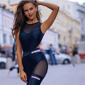Sexy Sleeveless Hollow Jumper Mesh Bodysuit Overalls 2017 Women Polyester Bodycon Jumpsuits and Rompers Casual Sporting Suits CX200606