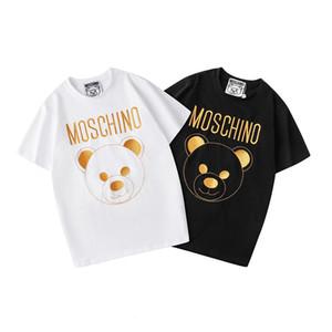 Moschino 19SS Couture Milano Mos O letra de la impresión de algodón del oso de peluche de los hombres T-hombres de la camiseta de las mujeres mosos Tops Streetwear Camisetas SP837
