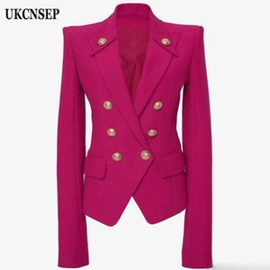UKCNSEP Winter 2020 Designer Blazer Jacket Women's Double Breasted Synthetic Blazer Overcoat Womens Jackets and Coats