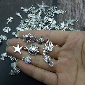 animal marinho 50pcs prata tibetana estilos misturados Encantos pingentes DIY jóias para Colar Pulseira Fazendo Accessaries