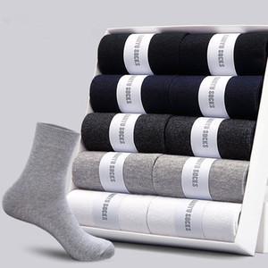 Los calcetines de algodón para hombre Nuevos estilos 5 pares / porción negocios negro calcetines de los hombres transpirable otoño invierno para el tamaño masculino gratuito