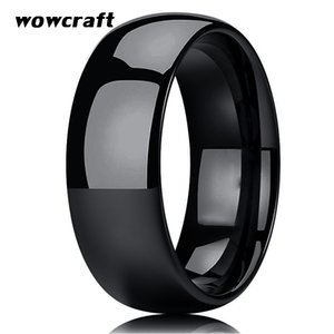 Classic 8mm Black Mens Tungsten Carbide Wedding Band Ring Domed Edges Polished Shiny Free Inside Engrave Black Plated Band Rings
