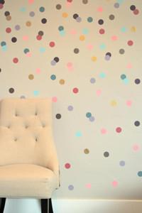 free ship 24pcs 4cm Confetti Polka Dot stickers,removable sticker on cabinet,Girly Brights Metallics DIY wall art,M2S1