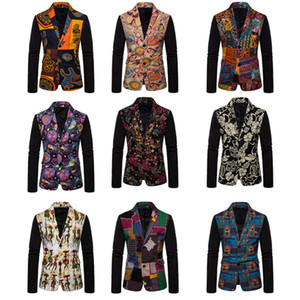 Linen Men Clothing Mens Blazer print Jacket Stylish Fancy floral Males Suits Blazers