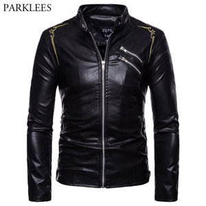 Stylish Embroidery Motorcycle PU Leather Jacket Men 2018 Autumn Winter Slim Fit Stand Collar Jacket Mens Coats Casaco Masculino