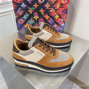 Mens Thick base leather sneakers, Multi material splicing shoes, Breathable low-top lace-up jogging sneakers Original packaging