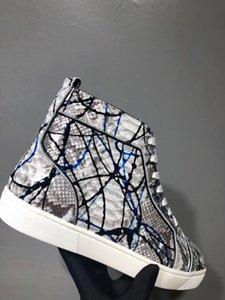 lls vestido de casamento Graffiti Python couro vermelho Fundo Sneaker para mulheres de alta qualidade Designer de luxo Mens Outdoor Trainers partido com caixa