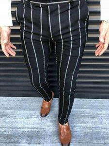 4 Cores Moda Homens Novos Calças Casuais Inteligentes Listradas Elegante Calças De Lápis Tamanho De Tornozelo Negócio Formal Informal