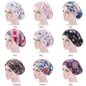 New Muslim Women Cotton India Turban Hat Solid Ruffles Cancer Chemo Cap Beanie Hijab Caps Headwear Head Wrap night sleep cap