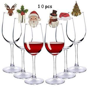 10pcs Weihnachten Glas Zeichen Flagge Weinglas Weihnachtsdekoration Partei Abendessen Zahnstocher Flagge Geschirr Dekoration Ornamente
