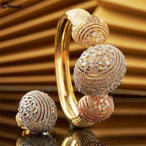 Donia bijoux européens et américains exagéraient bijoux tricolor Bracelet ovale Zircon électrodéposée Bracelet Ring 2 ensembles