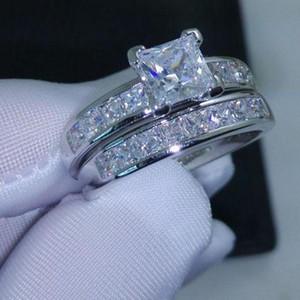 2018/19 Jóias de luxo Dimond Crystals Womens Rings Princesa cut simulado Diamond Wedding Ring Jewelry