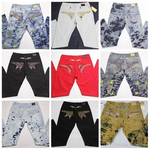 Mens fashion brand Jeans Crystal Studs Denim Pants Designer washed distressed classic biker straight Trousers JS34