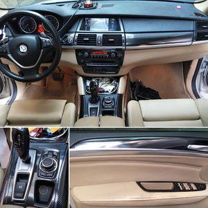 BMW X5 E70 / X6 E71 ACCESSORIE 스타일링 2007-14 실내 중앙 제어판 도어 핸들 5D 탄소 섬유 스티커 데칼 자동차