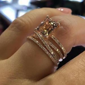 Luxo Feminino Meninas de cristal CZ Stone Anel Rose cor de ouro brilhando Zircon completa Anéis de jóias festa de noivado Promise Para Mulheres