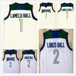 Hot Haskies High School Shisted Lonzo Ball сшитые 1 ламело шариковых майки Джерси футболки дешевые целые спортивные баскетбол 2
