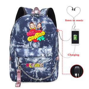 Me contro Te 배낭 여성 남성 USB 충전 노트북 배낭 학교 가방 십대 소년 소녀 여행 어깨 가방