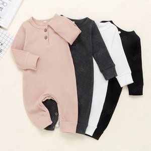 Kids Designer Clothes Baby Article Pit Rompers Boys Girls Long Sleeve Solid Jumpsuits Infant Cotton Climb Suits Boutique Onesies