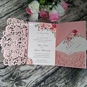 О продаже Blush Pink Sweetheart Свадебные приглашения DIY Лазерная Cut Карманный Приглашения для Quinceanera Bridal Shower день рождения с RSVP карты
