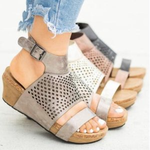 Summer Hollow out Platform Sandals Plus Size Wedges Shoes Casual Woman Peep Toe button cork Sandals