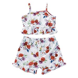 Kızlar Pamuk Karışımlar Gül Suspender Kemer Tops Baskı ve Kısa Pantolon Seti İki parçalı Çocuk Yaz Kolsuz Tişört ve Kısa Pantolon Suit