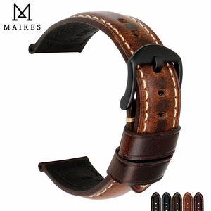 Maikes İzle Aksesuarları Watch Band 20mm 22mm 24mm 26mm Panerai Iwc Y19070902 Için Özel Yağ Wax Deri Saat Kayışı Saat Kayışı