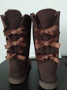Adatti a donne del cuoio genuino Stivali reale spaccato della mucca Bailey Bowknot Bailey Bow Snow Boots Formato dei pattini Regalo di Natale EUR35-44 US5-13