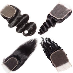 Объемная Волна Бразильские Плетения Волос 4x4 Закрытие Unprcoessed Наращивание Человеческих Волос Хорошее Дешевое Тело Норки Brazlilian Глубокий Прямой Свободный Закрытие