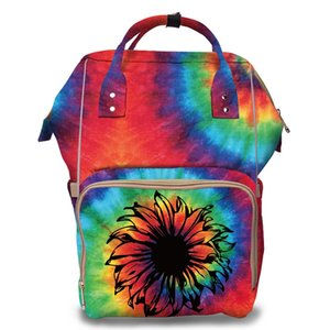Wholesal Tie Dye Sunflower Fashion DIAPER BAG Personalazed Baby Travel Backpack Aztec Print Mummy bag Nappy Bag w  Stroller Strap
