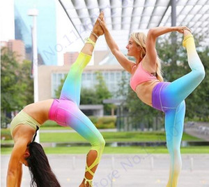 Ucuz 2020 Gradient Renk Balesi Sonsuz Katılım Tozluklar Zayıflama Yüksek Bel Yoga Capris Pantolon Dans Ruh Bandaj Skinny Tayt Kadın