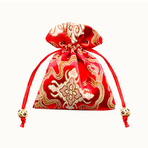 Bolsas 13x16 16x19cm presentes chineses Brocade Bag 11x14 Silk Coin Valor Set Drawstring Bolsa de Bolsa Bolsas Qlonp