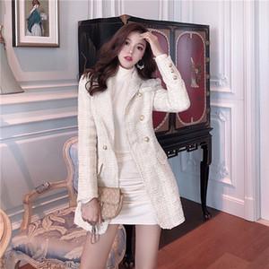 Pista de aterrizaje 2020 de la chaqueta de las mujeres del botón de doble botonadura de metal de manga larga chaqueta de cuello con muesca de lana Escudo Mezclas Tweed Blazer