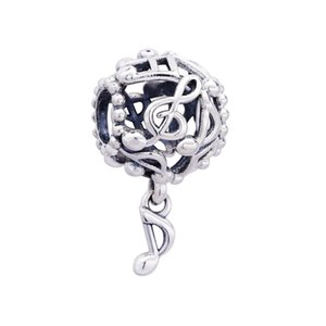 New Authentic 925 Sterling Silver Openwork Music Notes Dangle Charm Fit Original European Women Charms Bracelet Pendant Beads Diy Jewelry