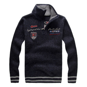 Men Sweater Winter Fashion Embroidery Thicken Stand Collar Wool Warm Sweater Coat For Men Pullovers 4 Colors Plus Size 3XL Wholesale