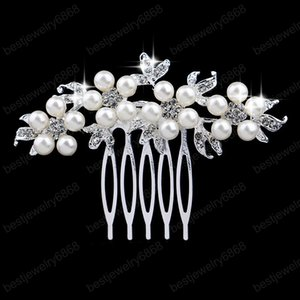 Silver Color Handmade Simulated Pearl Rhinestone Bridal Tiaras Hair Combs Jewelry Wedding Bride Headpiece Hair Accessories