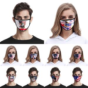 2020 bandera americana Máscara de América Día de la Independencia a prueba de polvo impresión de la manera de seda del hielo de tela lavable XD23428 Máscara