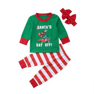 Christmas Kids Clothes Set Newborn Baby Kids Deer Tops Pants Headband Homewear Pajamas Clothes 3PCS Set