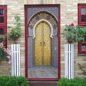 2PCS / SET مسلم الإسلامية مع الغراء الذاتي لاصق ورق الحائط PVC 3D الجدار ملصق لبنة للماء ورقة للحصول على الحائط ملصق الباب