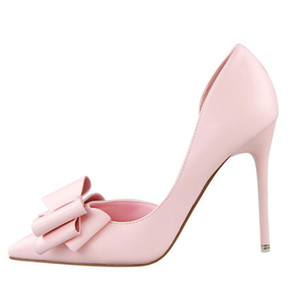 Women Pumps New Fashion Women's Shoes Sweet Bowknot High Heel Shoes Side Hollow Pointed Women Sandals