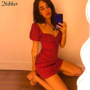 Nibber kpop slim dresses for woman 2020 summer aesthetic hot printing streetwear mujer casual party club wear red mini dresses T200707